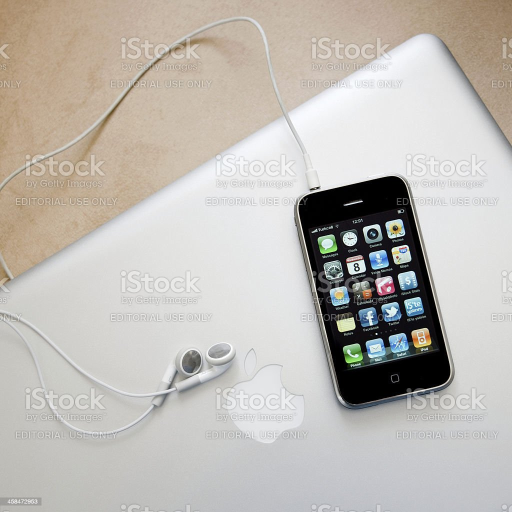 iPhone on the AppleMac Book Pro stock photo