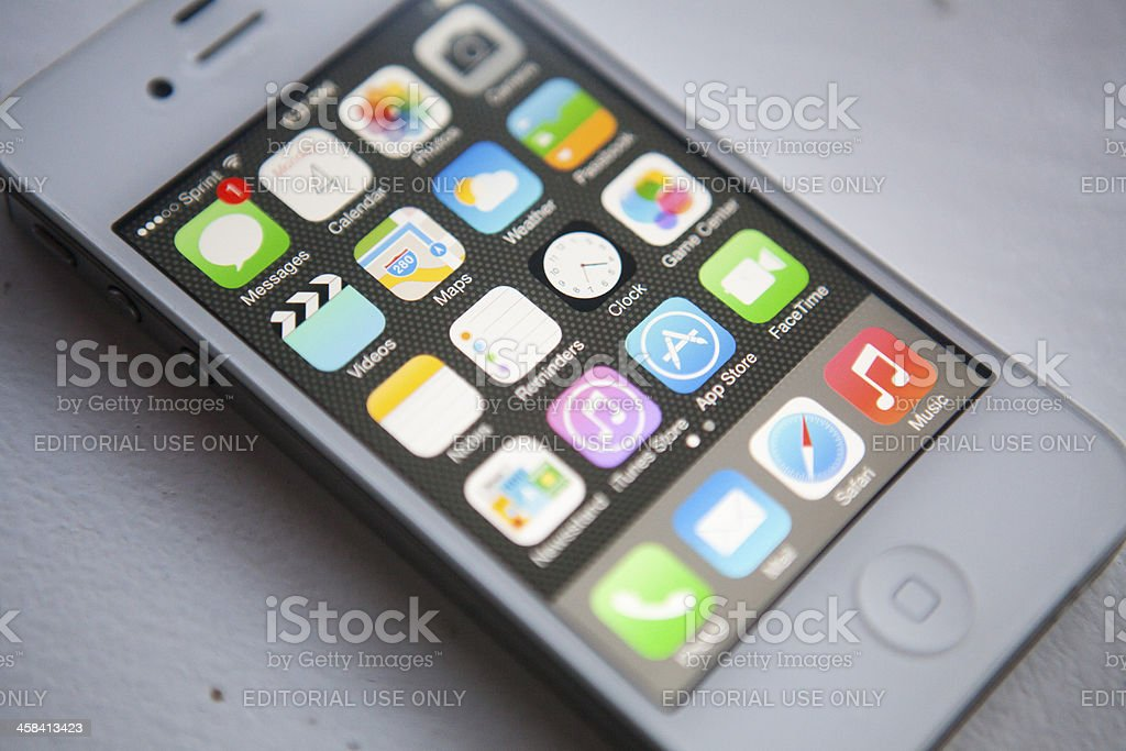 iPhone with a message stock photo