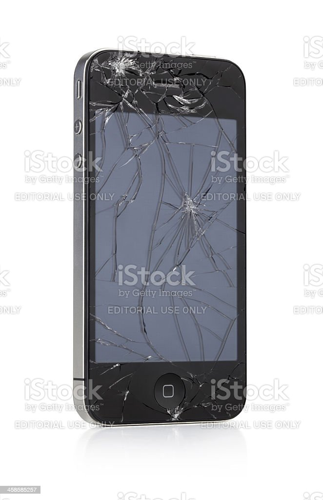 iPhone with broken screen stock photo