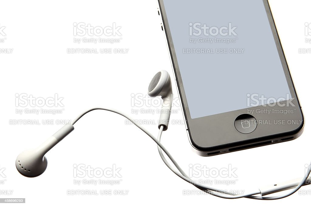 iphone with headphones royalty-free stock photo