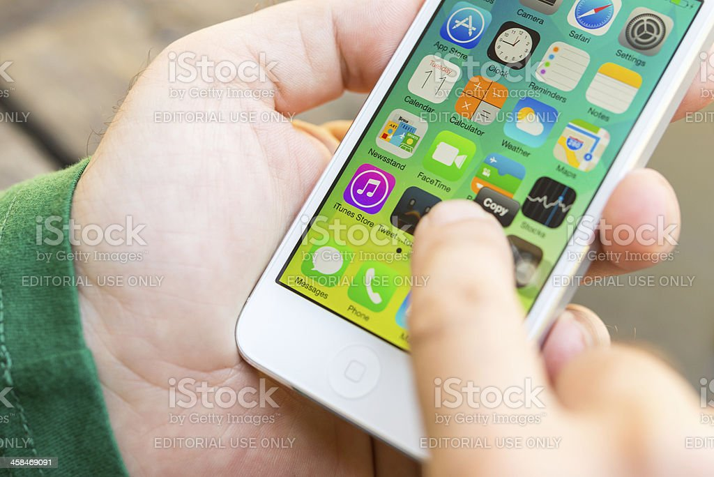 iphone with ios 7 royalty-free stock photo