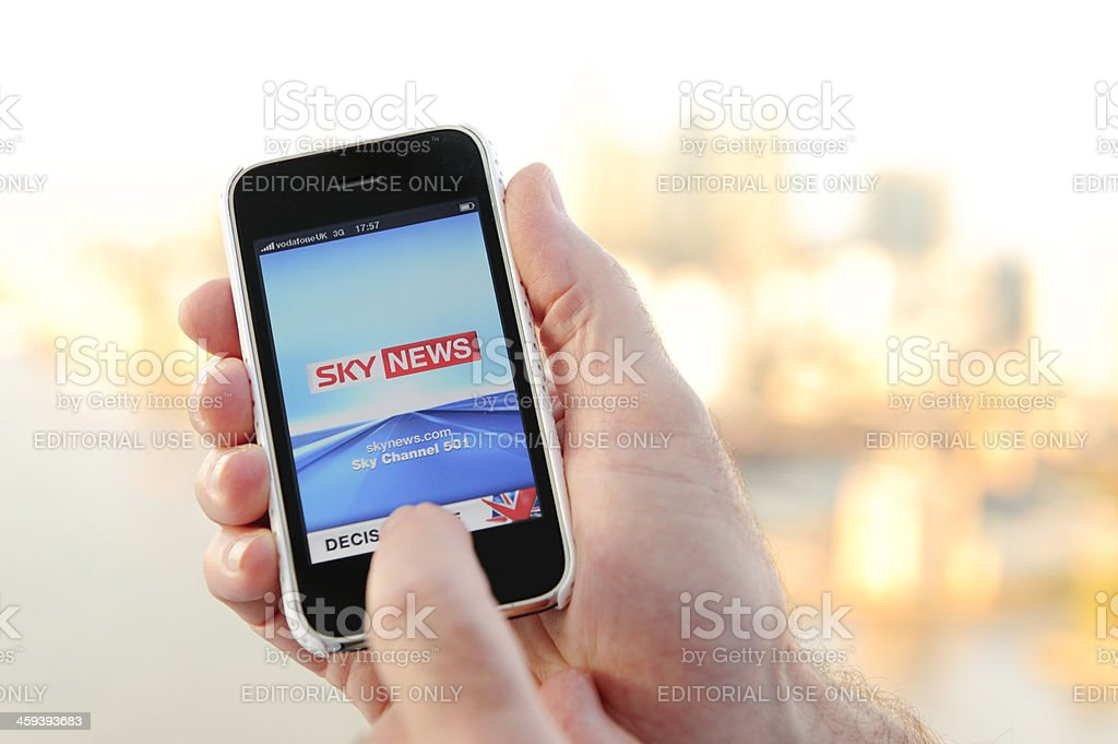 Iphone with Sky News App stock photo