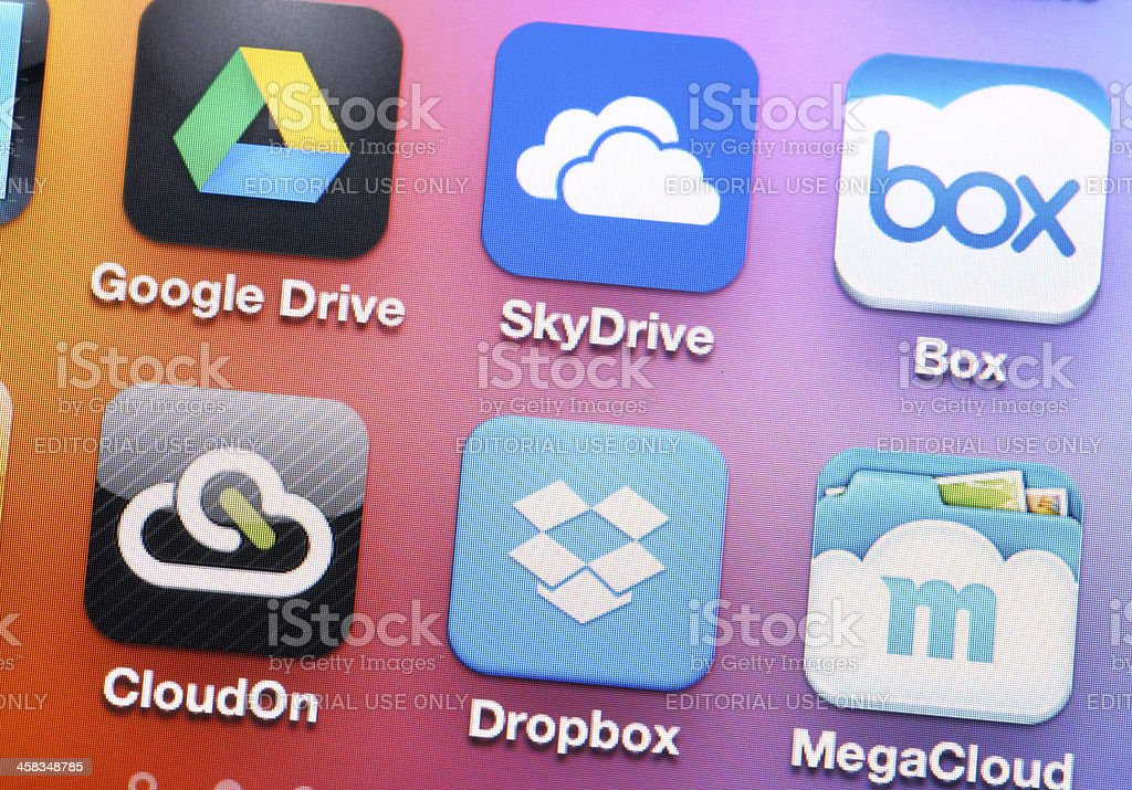 Iphone with storage application stock photo