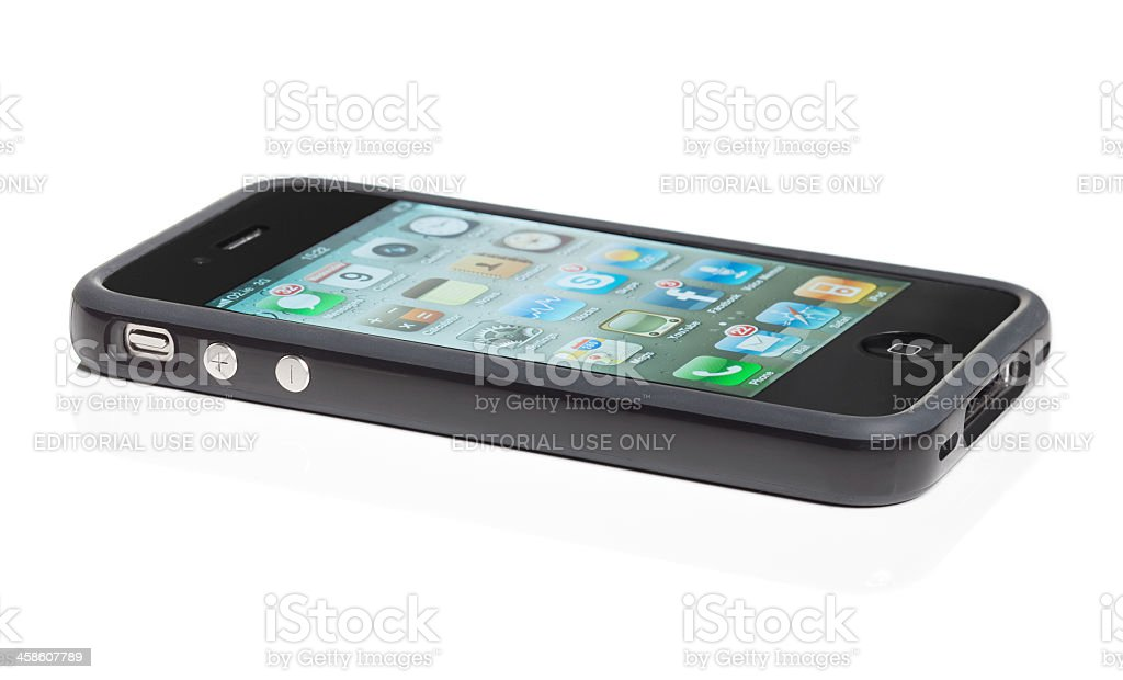 Iphone4 with signal booster cover stock photo