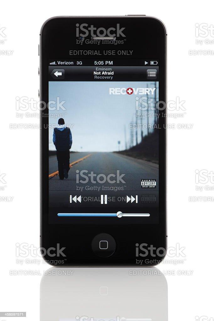iPod App on Apple iPhone 4: Eminem's 'Not Afraid' (Recovery) stock photo