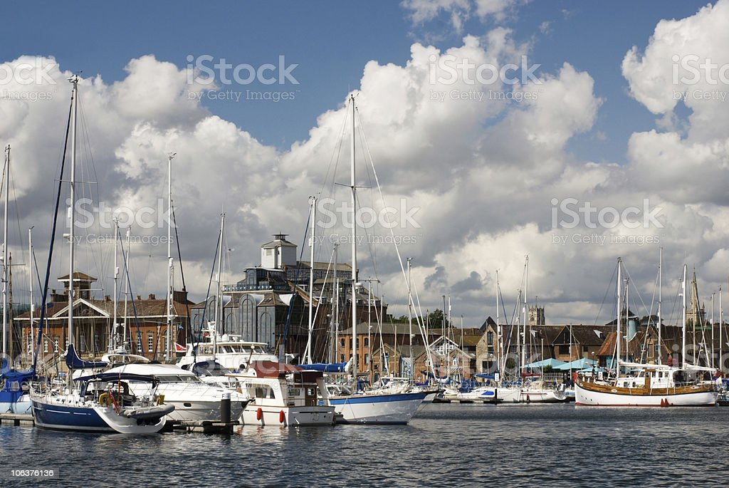 Ipswich waterfront on sunny day stock photo