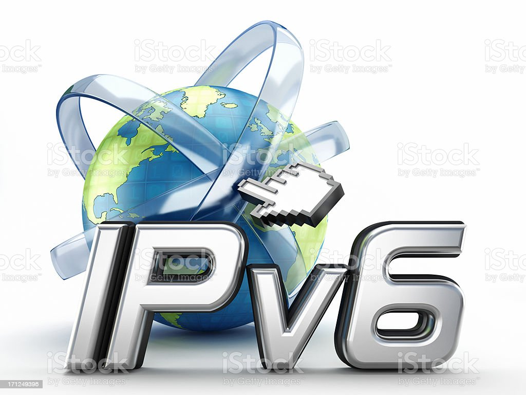 IPv6 text and globe royalty-free stock photo