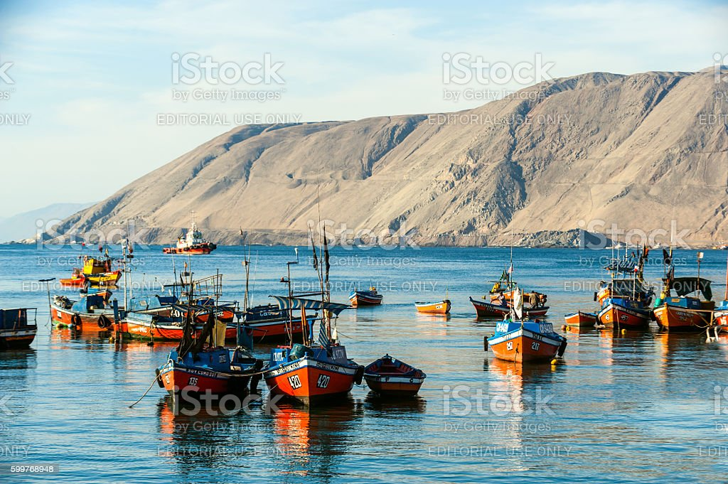 Iquique, Chile - Wooden fishing boats stock photo