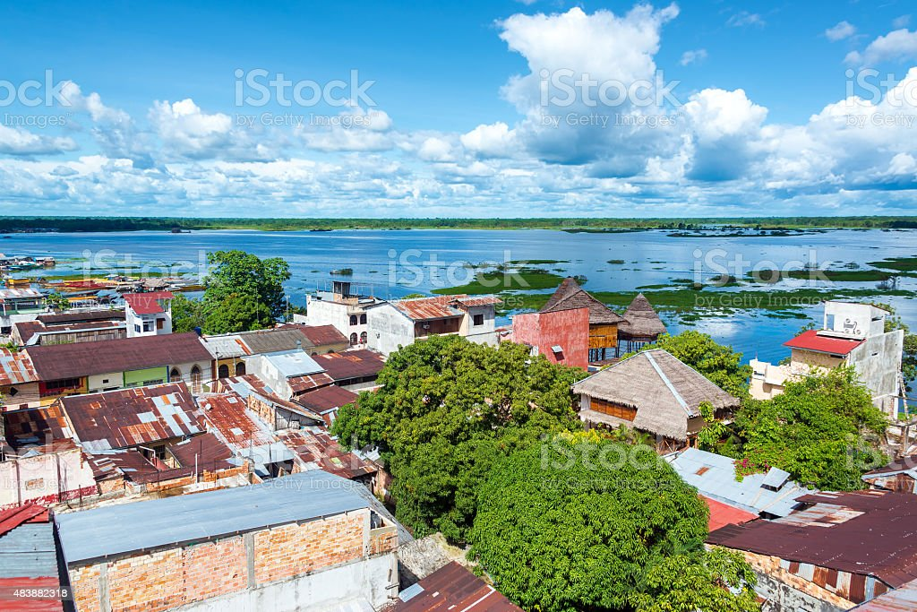 Iquitos and River stock photo
