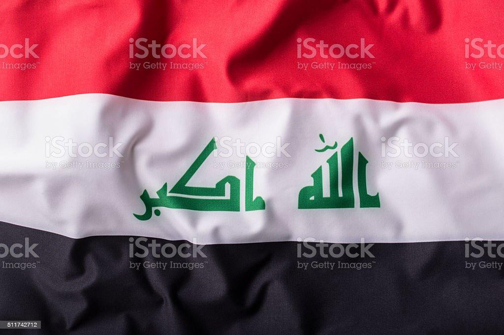 Irak flag. Waving Irak flag stock photo