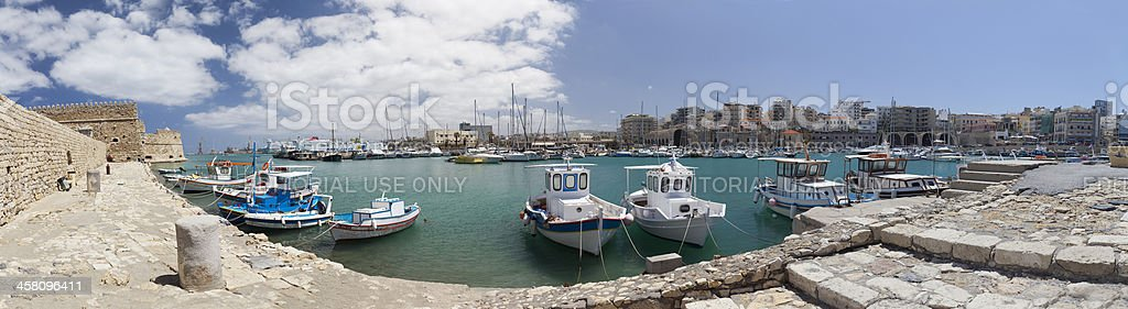 Iraklio harbour (panoramic composition) royalty-free stock photo