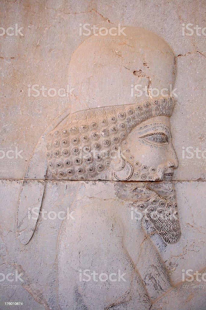 Iran  Ancient King engraving in Persepolis Unesco Site stock photo