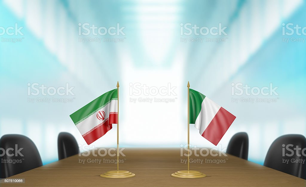 Iran and Italy relations and trade deal talks 3D rendering stock photo