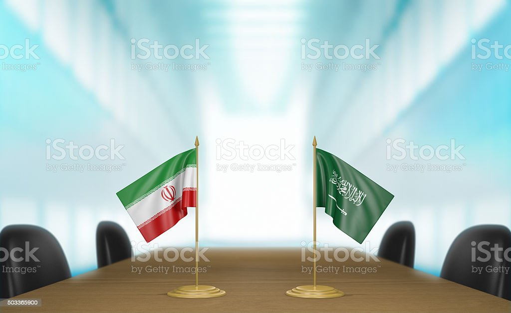 Iran and Saudi Arabia relations and trade deal talks stock photo