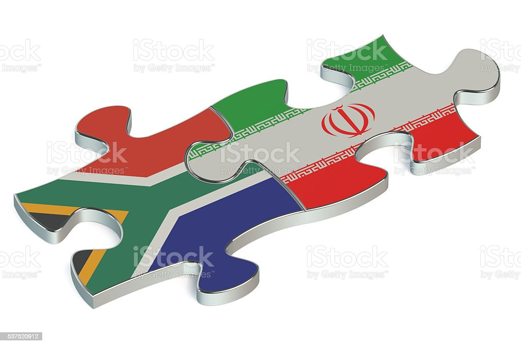Iran and South Africa puzzles from flags stock photo