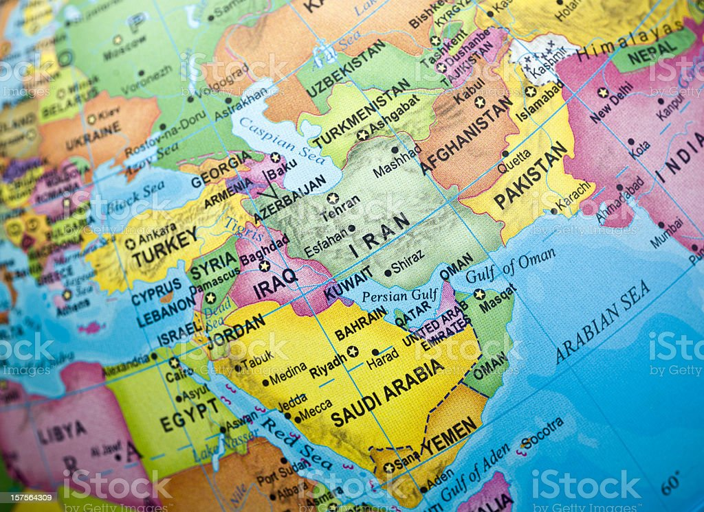 Iran and surrounding countries royalty-free stock photo