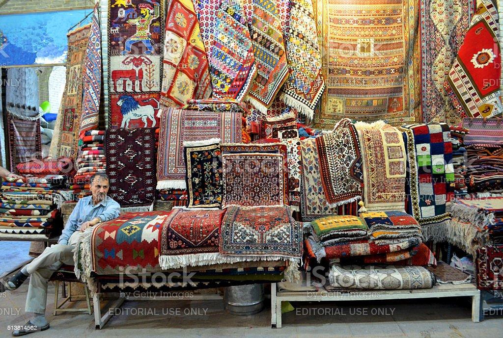 Iran, Carpet seller stock photo