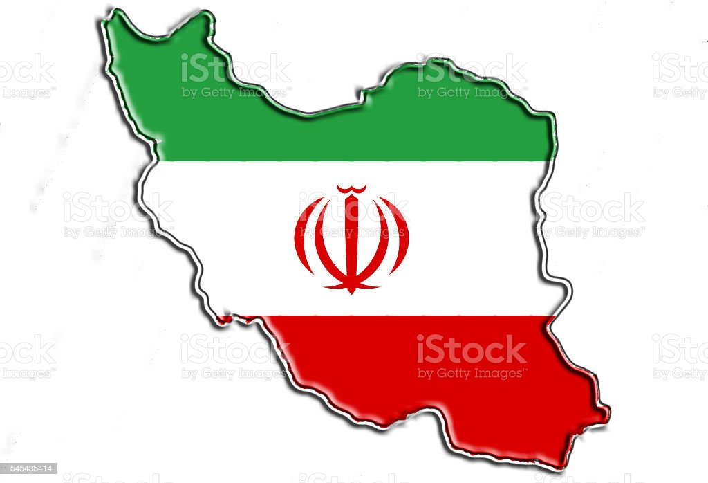 Iran flag map stock photo