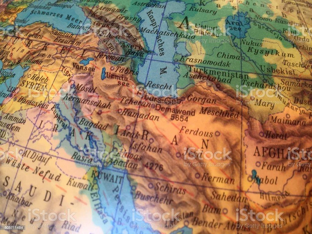 Iran Karte - Alter Globus / Weltkarte stock photo
