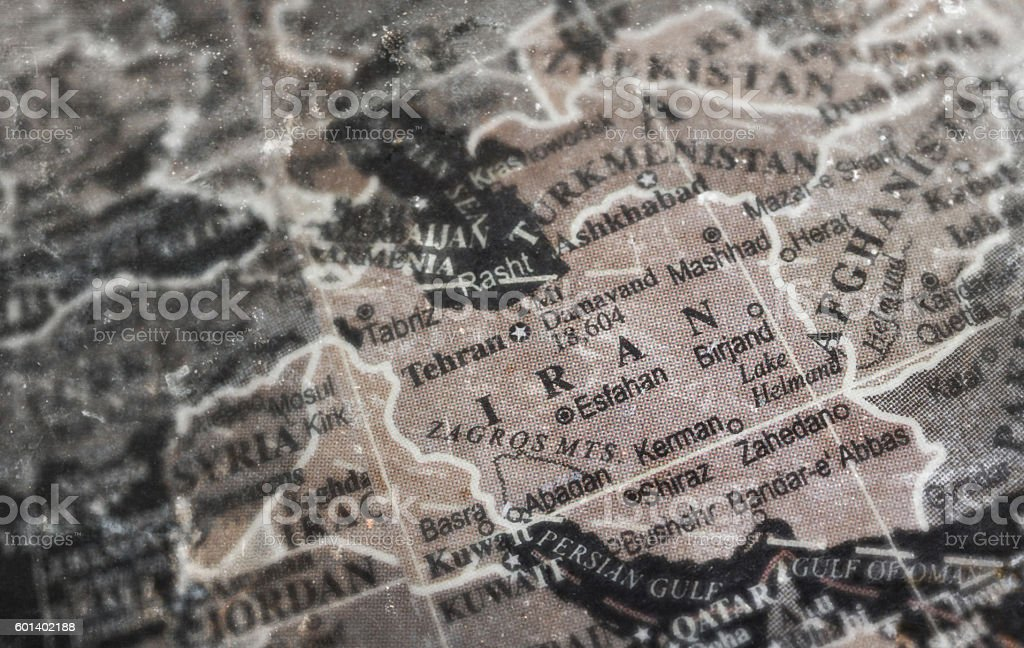 Iran map on vintage crack paper background stock photo