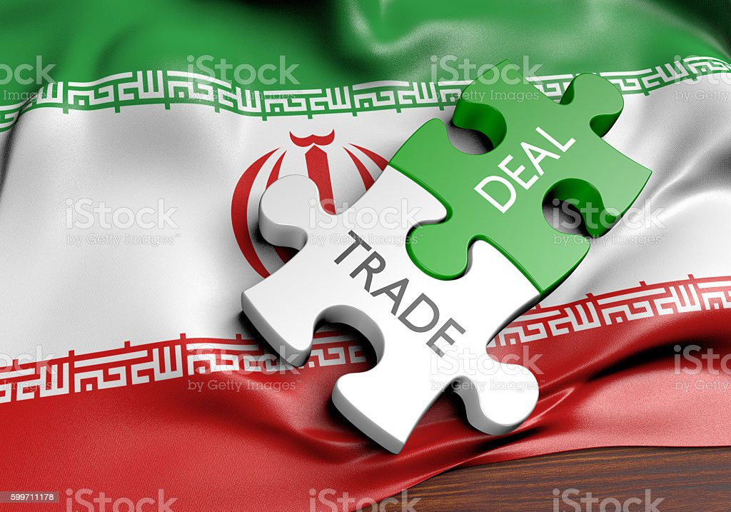 Iran trade deals and international commerce concept, 3D rendering stock photo
