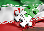 Iran trade deals and international commerce concept, 3D rendering