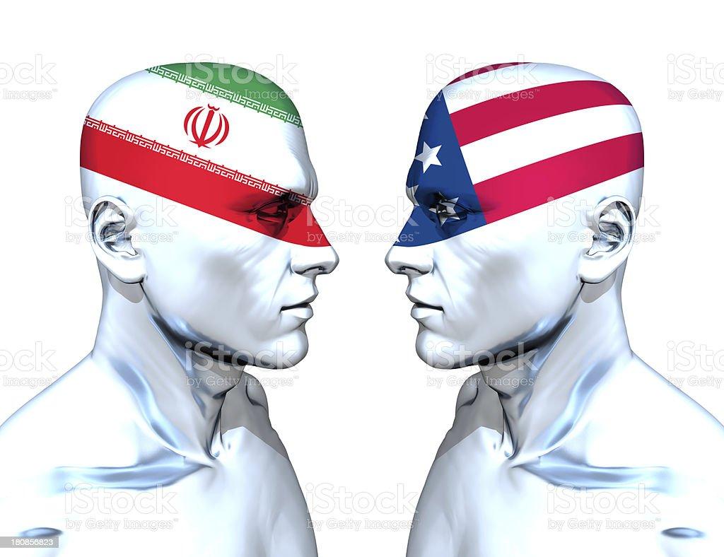 Iran vs USA stock photo