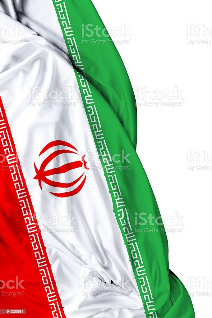 Iran waving flag on white background stock photo