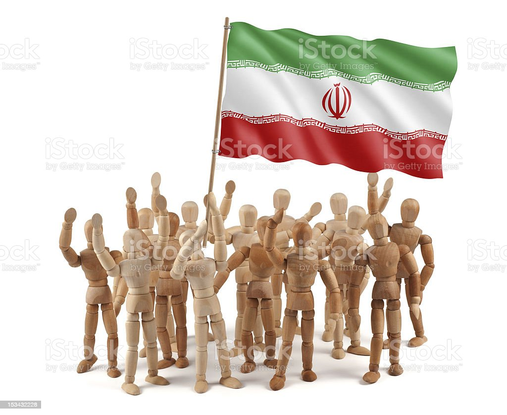 Iran - wooden mannequin group with flag stock photo