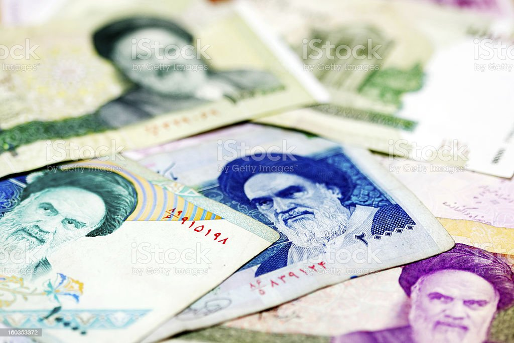 Iranian currency stock photo