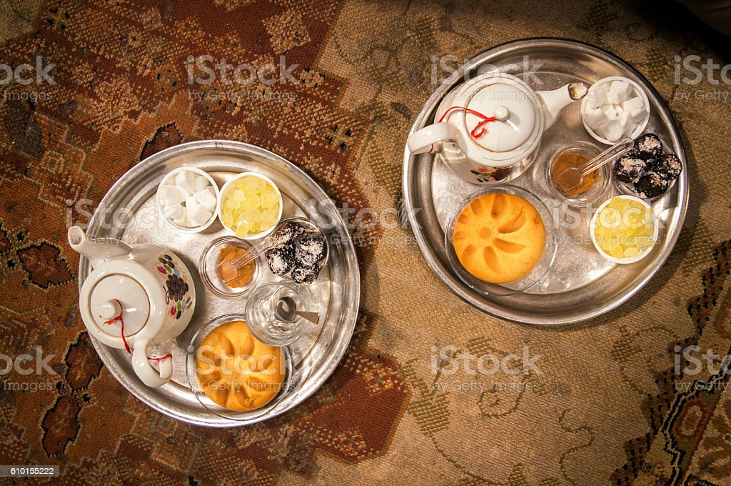 Iranian delights and tea on the table stock photo