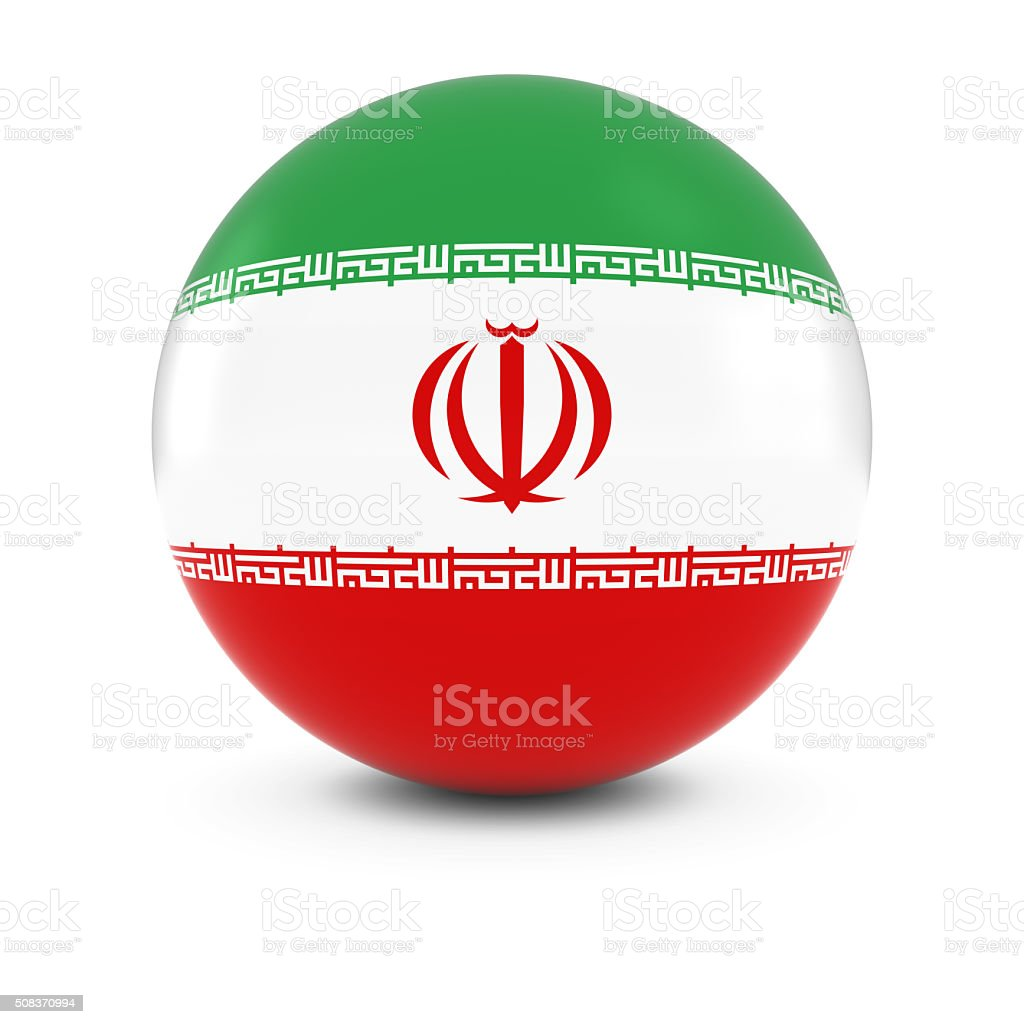 Iranian Flag Ball - Flag of Iran on Isolated Sphere stock photo