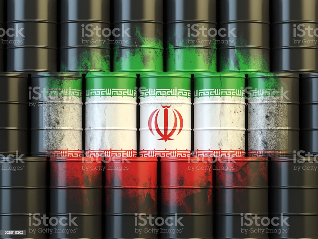 Iranian oil fuel energy concept. Flag of Iran stock photo