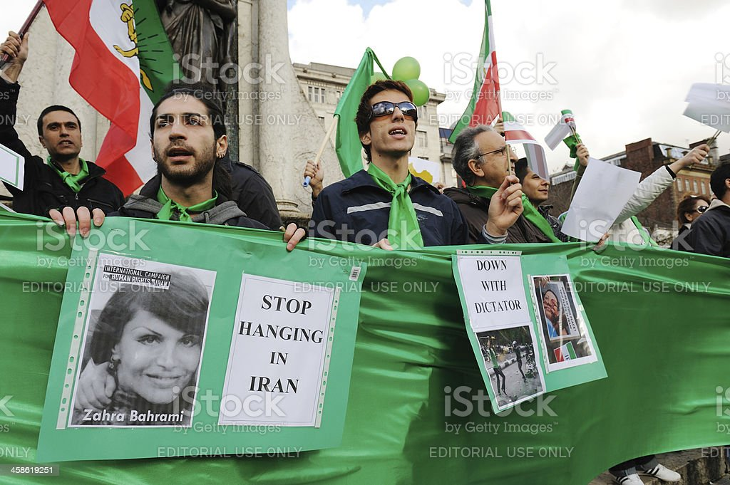Iranian Protestors, Manchester stock photo