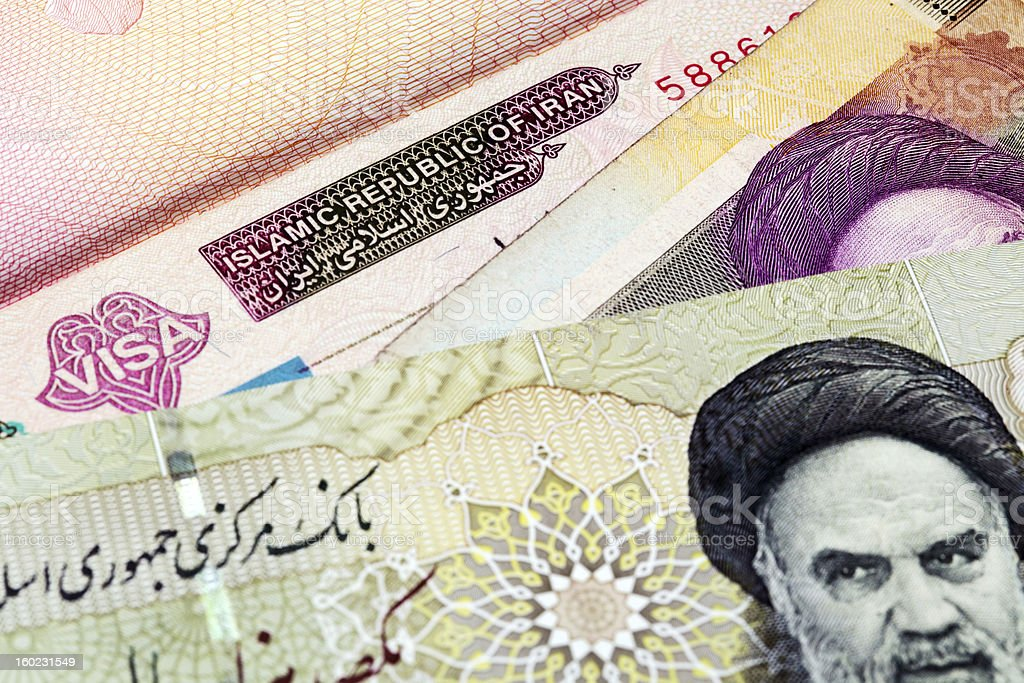 Iranian visa and currency stock photo