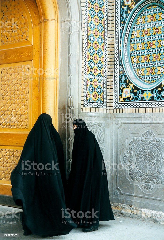 Iranian women entering the mosque in Qom,Iran royalty-free stock photo