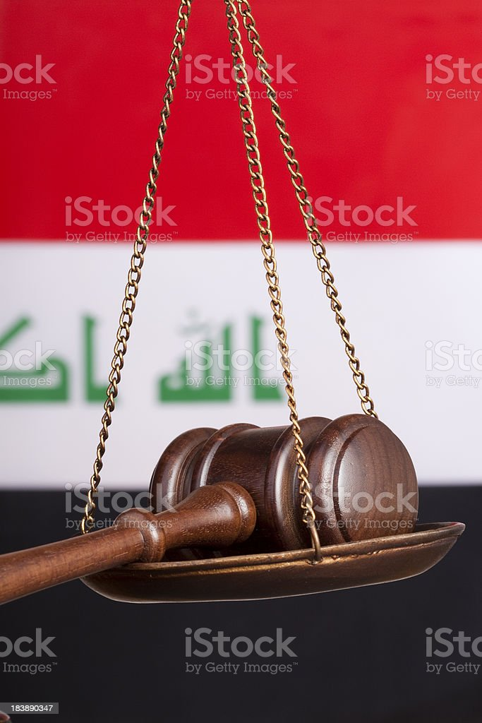 Iraq and justice stock photo