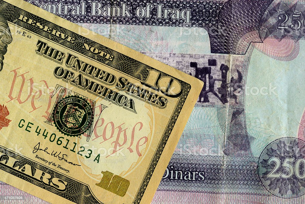 Iraq and United States Currency royalty-free stock photo