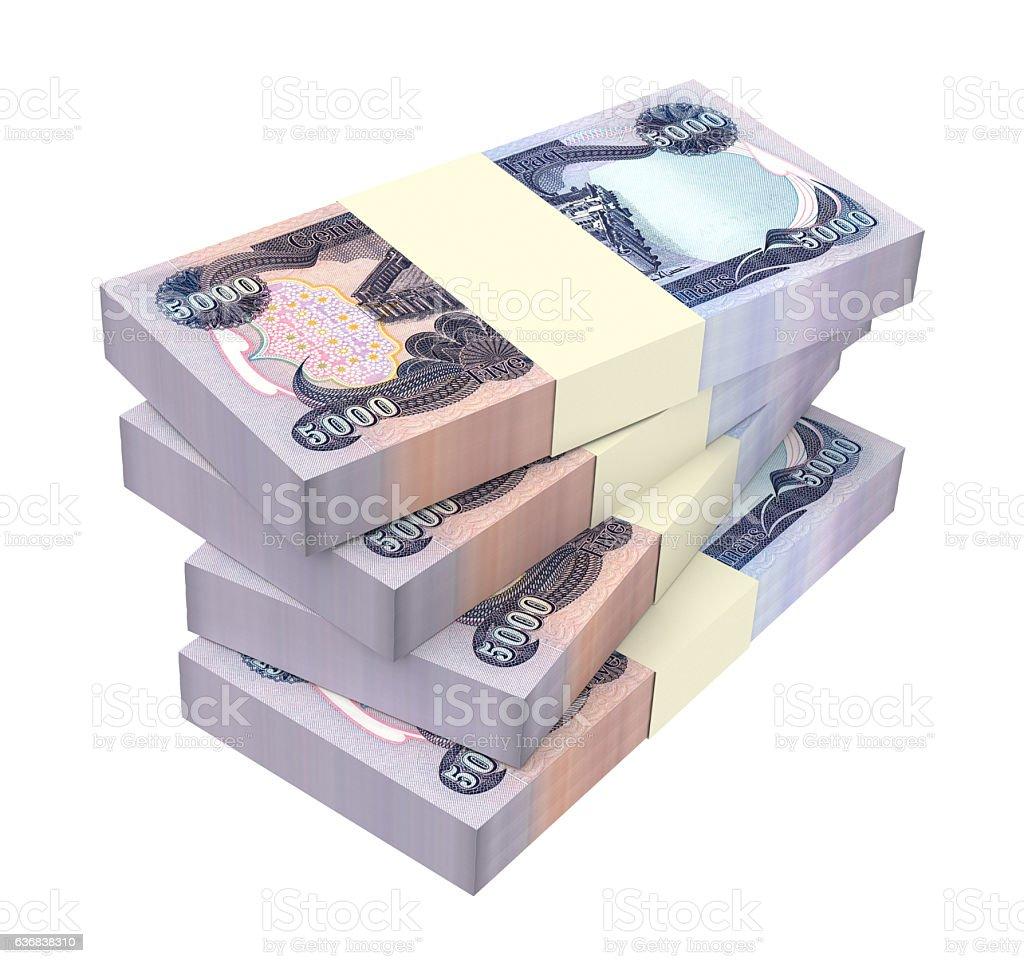 Iraq dinars bills isolated on white background. stock photo