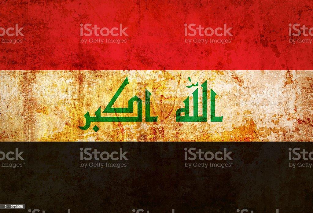 Iraq flag on grunge paper stock photo