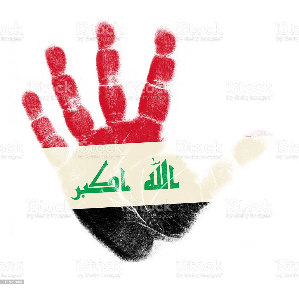 Iraq flag palm print isolated royalty-free stock photo