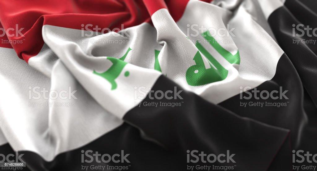 Iraq Flag Ruffled Beautifully Waving Macro Close-Up Shot stock photo