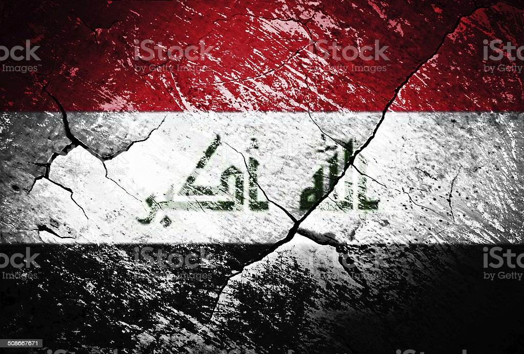 Iraq flag, war, conflict, worn, distressed stock photo