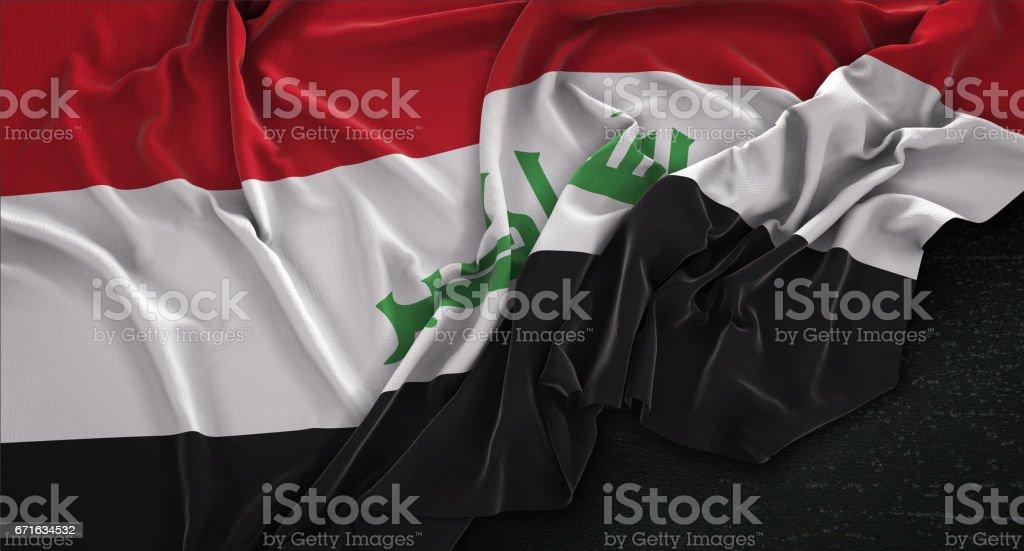 Iraq Flag Wrinkled On Dark Background 3D Render stock photo