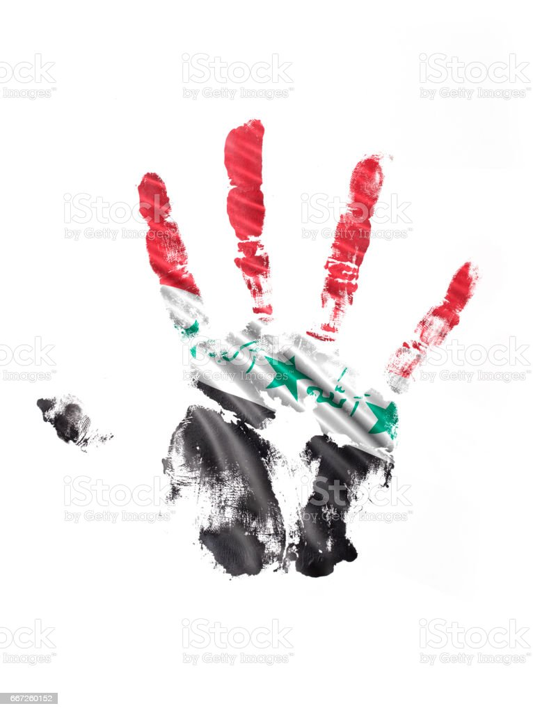 Iraq Hand Print Flag stock photo