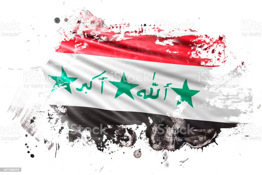 Iraq Ink Grunge Flag stock photo
