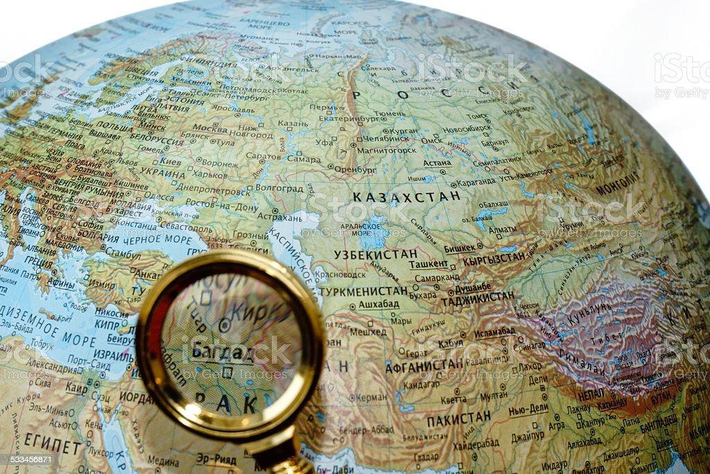 Iraq on Russian globe stock photo