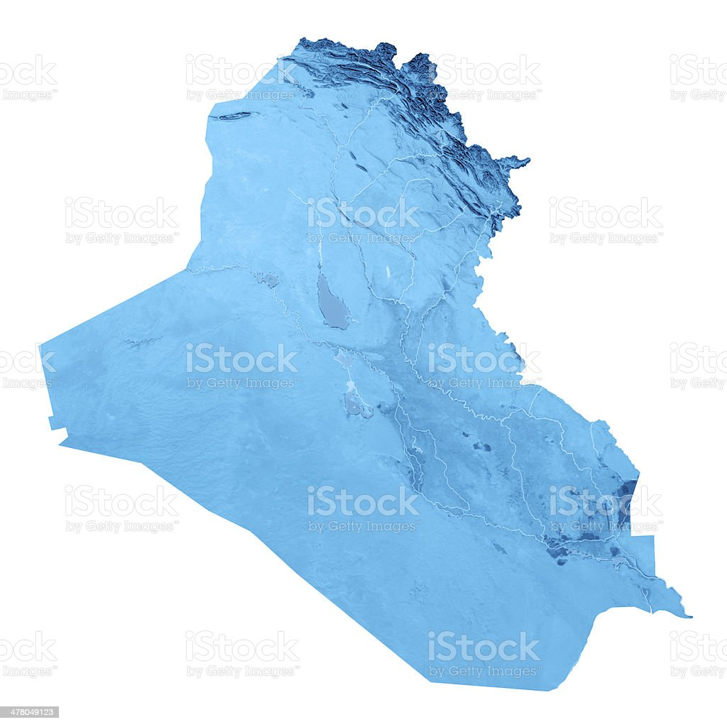 Iraq Topographic Map Isolated royalty-free stock photo
