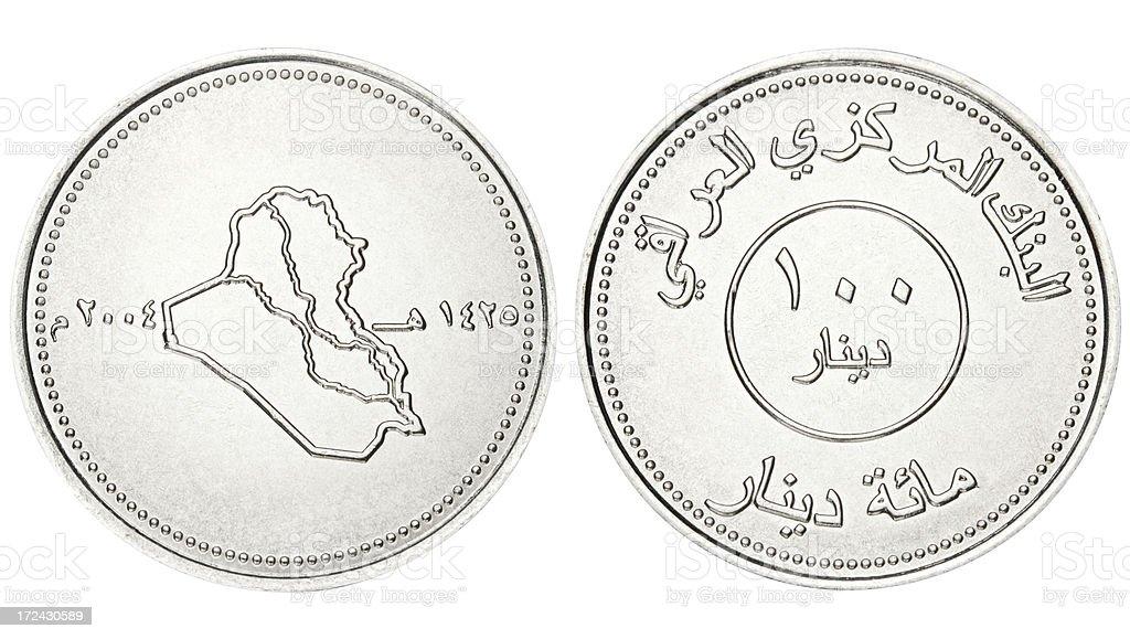 Iraqi Dinar on white background stock photo