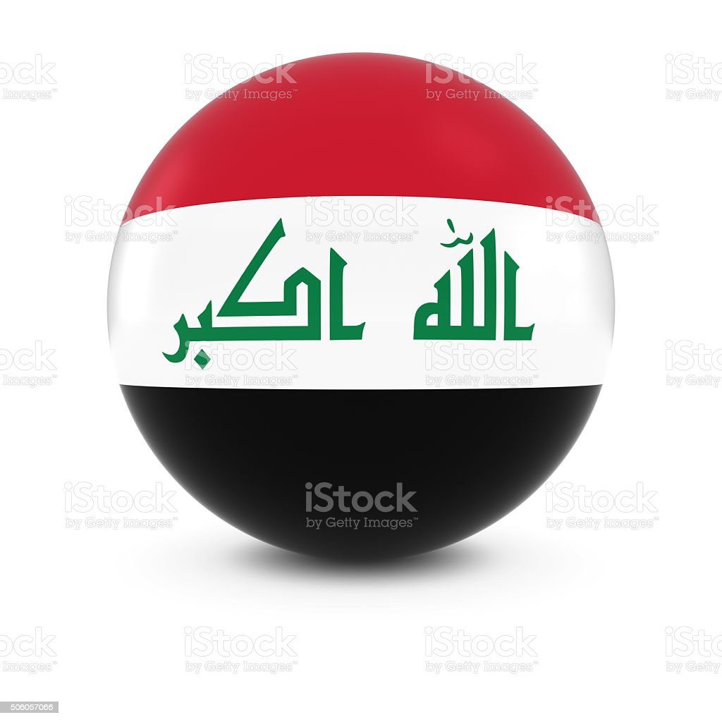 Iraqi Flag Ball - Flag of Iraq on Isolated Sphere stock photo